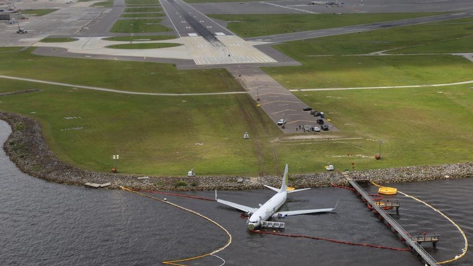 An Aerial view of a Miami Air International Boeing 737-800 that overran the runway at NAS Jacksonville and came to rest in the St Johns River in Jacksonville, Florida. (NTSB / Handout via REUTERS)