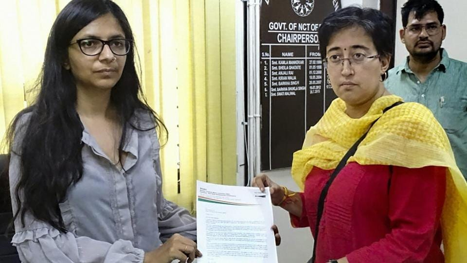 Aam Aadmi Party (AAP) party's candidate Atishi Marlena files a complaint with Delhi Commission for Women chairperson Swati Maliwal over a derogatory pamphlet mainly targeting her, at her office in New Delhi.  (PTI)