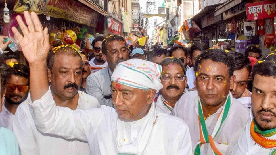 Congress candidate from Bhopal Lok Sabha seat Digvijaya Singh during a roadshow for the ongoing Lok Sabha polls, in Bhopal, on 9, 2019. (PTI Photo)