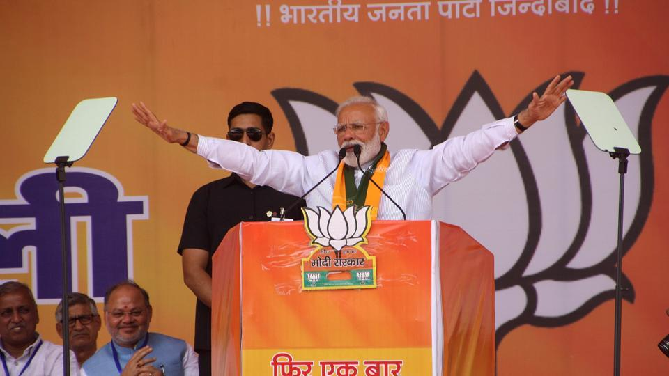 "Prime Minister Narendra Modi on Friday launched a sharp attack on Congress and its leader Sam Pitroda for his comments on the 1984 anti-Sikh riots. Modi said Pitroda's comment shows the ""character and arrogance"" of the Congress. ""These words show Congress character and mentality. He is the guru of the Congress president,"" Modi said at a rally in Rohtak. (Manoj Dhaka / HT Photo)"
