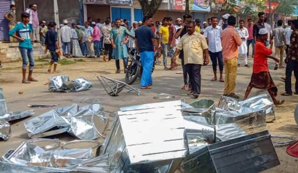 A scene outside a vandalised shop after  clashes broke out between two communities, in Hailakandi town of Assam, Friday, May 10.