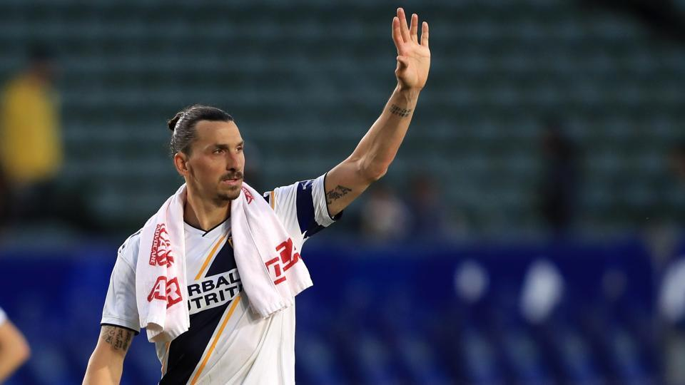 Zlatan Ibrahimovic of Los Angeles Galaxy looks on as he leaves the field after a game against the Real Salt Lake at Dignity Health Sports Park on April 28, 2019 in Carson, California.
