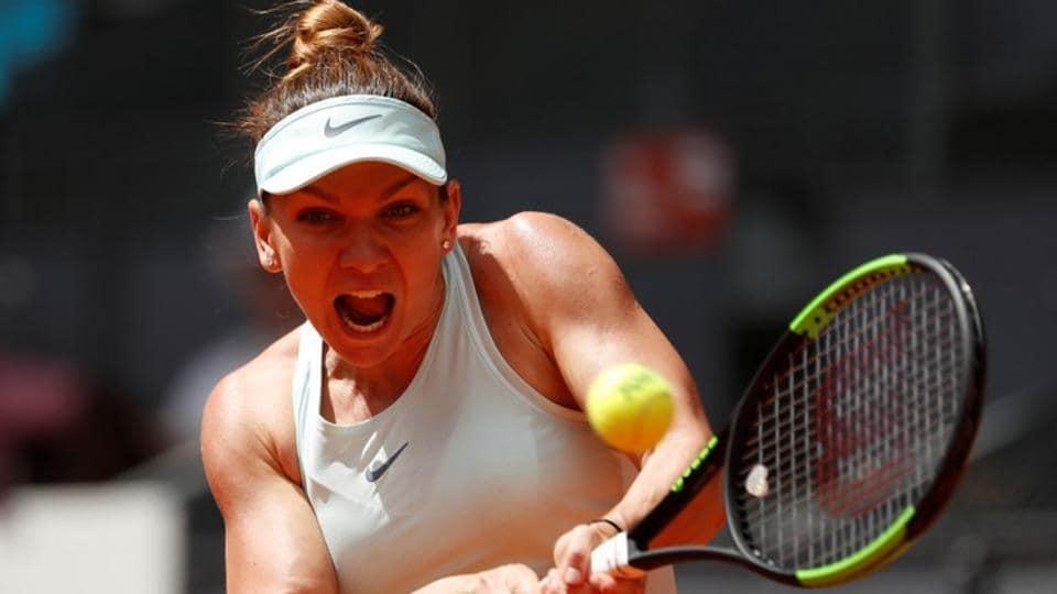 Romania's Simona Halep in action during her semi final match against Switzerland's Belinda Bencic.