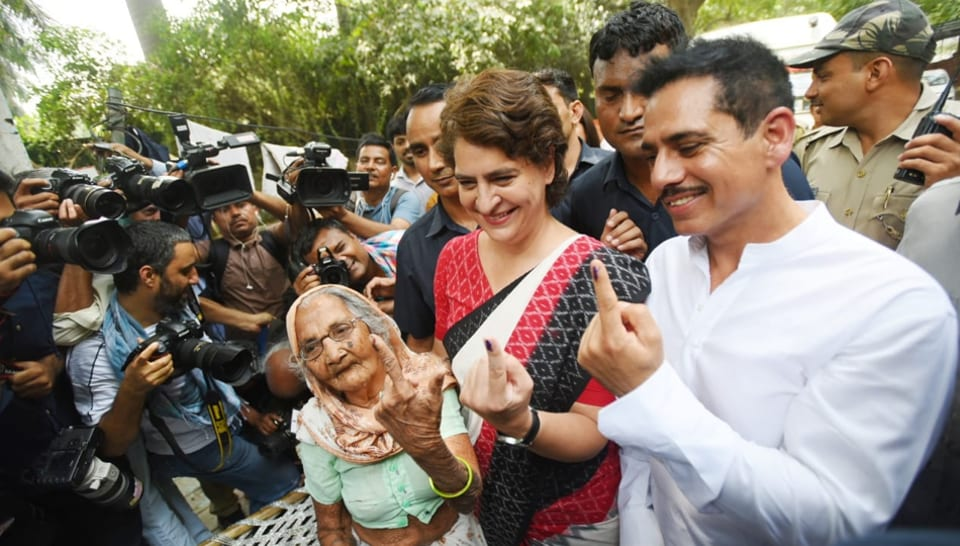 Priyanka Gandhi was accompanied by her businessman husband Robert Vadra as she came to cast her vote.