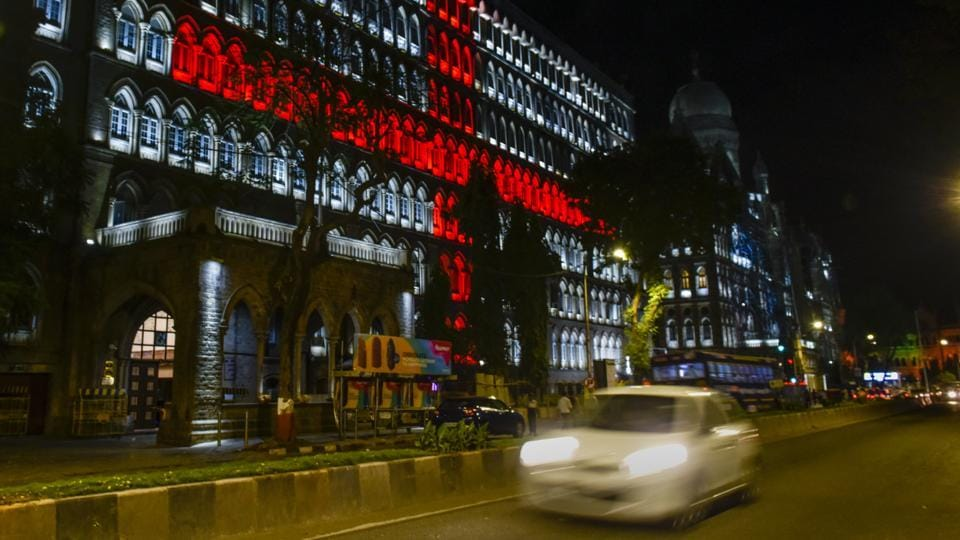 BMC building was illuminated on the occasion of World Red Cross day at CSMT in Mumbai. (Kunal Patil / HT Photo)