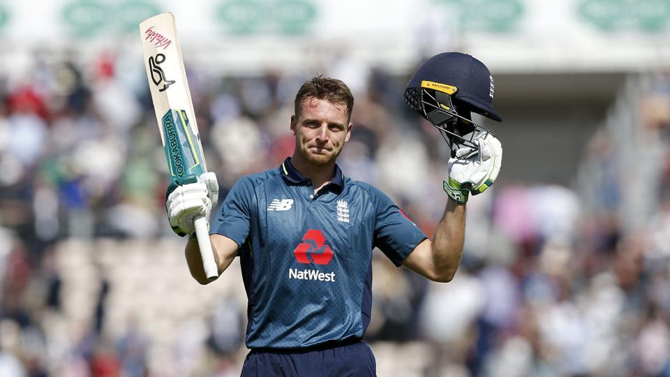 England's Jos Buttler reacts as he leaves after his Innings of 110 not out during the second One Day International (ODI) cricket match between England and Pakistan at The Ageas Bowl in Southampton on May 11, 2019