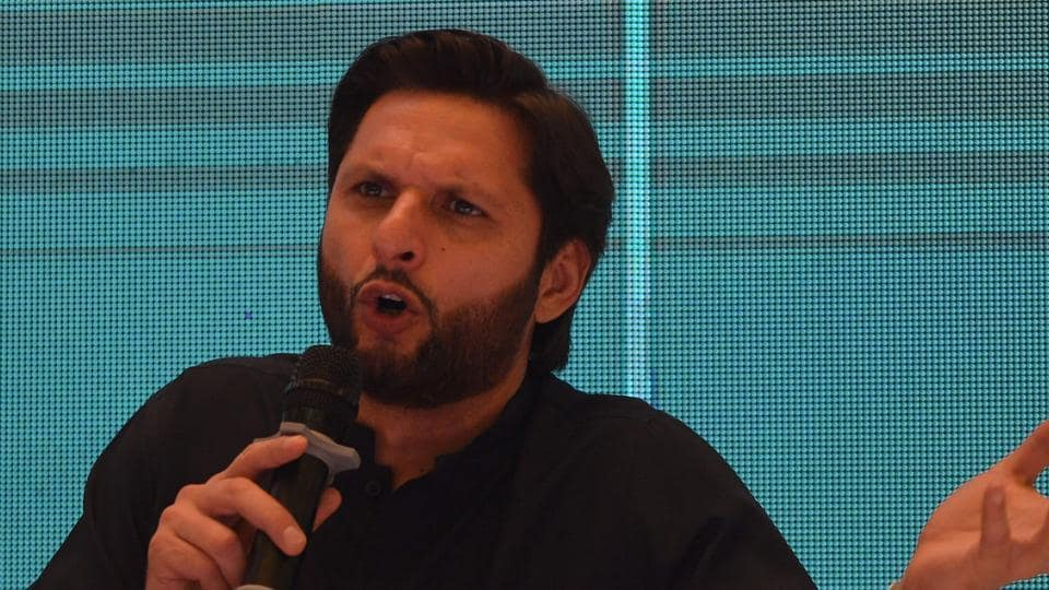 Pakistani cricketer Shahid Afridi speaks during a press conference to present his autobiography in Karachi on May 4, 2019