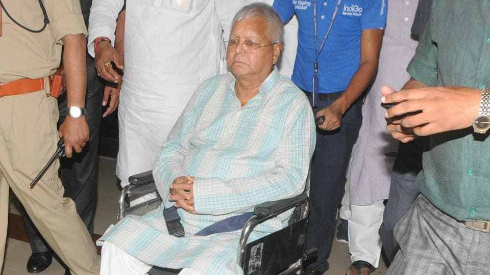 File photo of RJD chief Lalu Prasad who is currently lodged in the prisoner's ward of RIMS, Jharkhand.