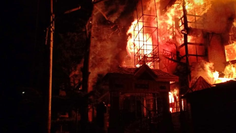 A major portion of more than a century-old Grand Hotel was destroyed in a massive fire that broke out late on Monday night in Himachal Pradesh's Shimla.