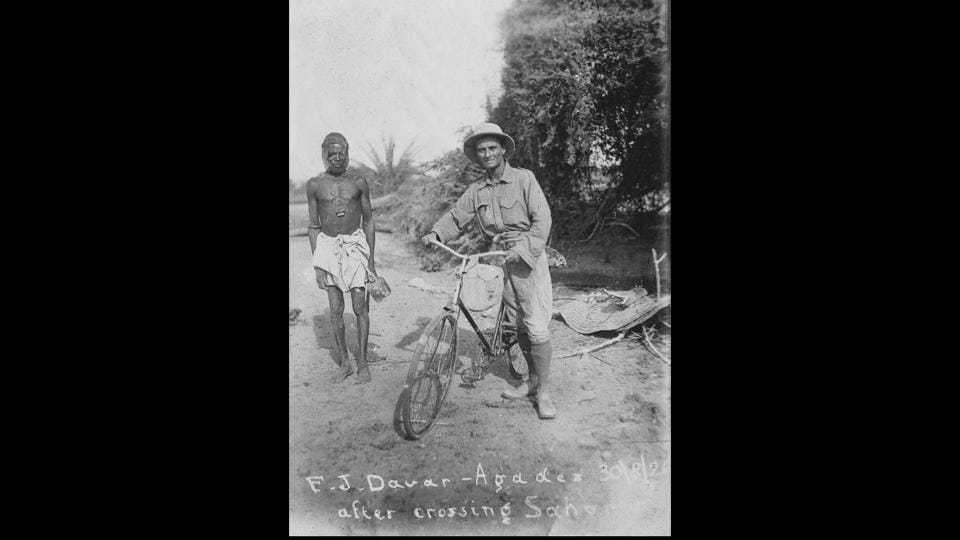 Framroze Davar, a sports journalist on his cycle after crossing the Sahara Desert in 1926. Davar and his cycling partner Gustav Sztavjanik, whom he met in Vienna after 5000 kms of solo travel, rode 1,10,000 kms across 52 countries and five continents between 1924 and 1931. (Anoop Babani / Savia Viega)