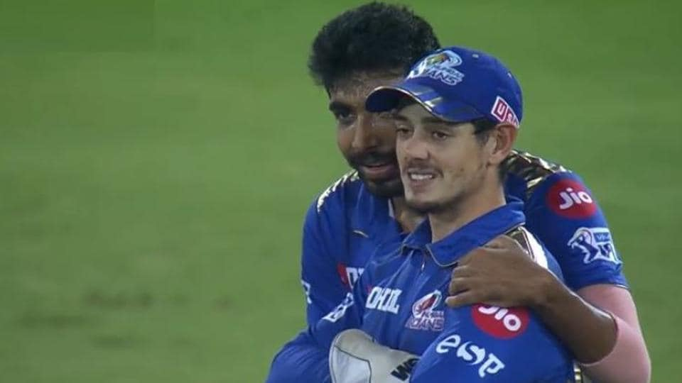 Jasprit Bumrah consoles Quinton de Kock after his miss nearly cost Mumbai Indians the title during IPL final vs Chennai Super Kings on Sunday.