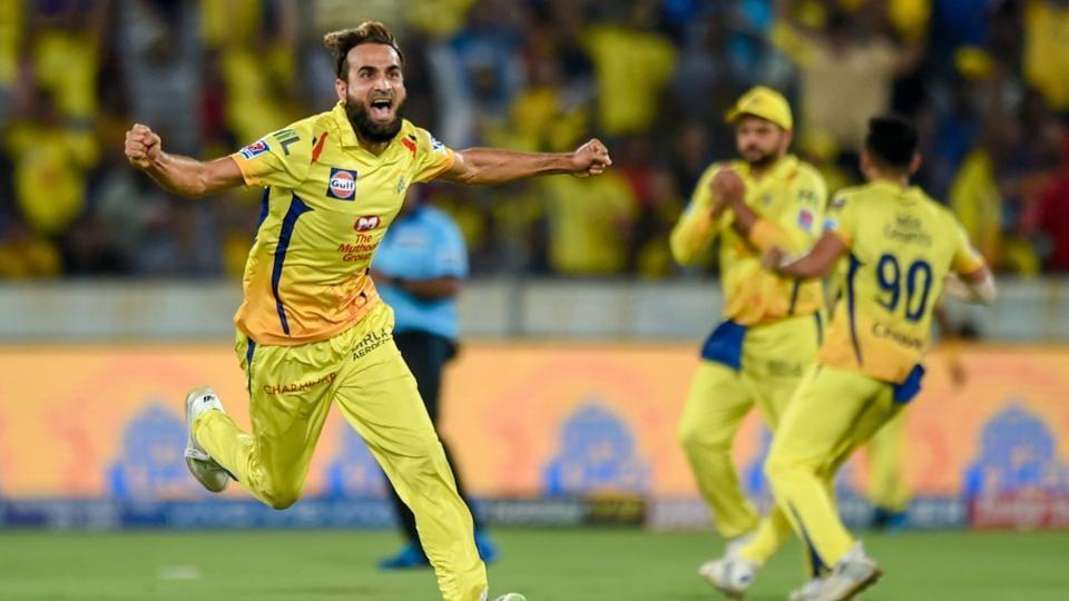 Hyderabad: CSK bowler Imran Tahir celebrates the wicket of MI batsman Ishan Kishan during the Indian Premier League 2019 final cricket match between Chennai Super Kings (CSK) and Mumbai Indians (MI)