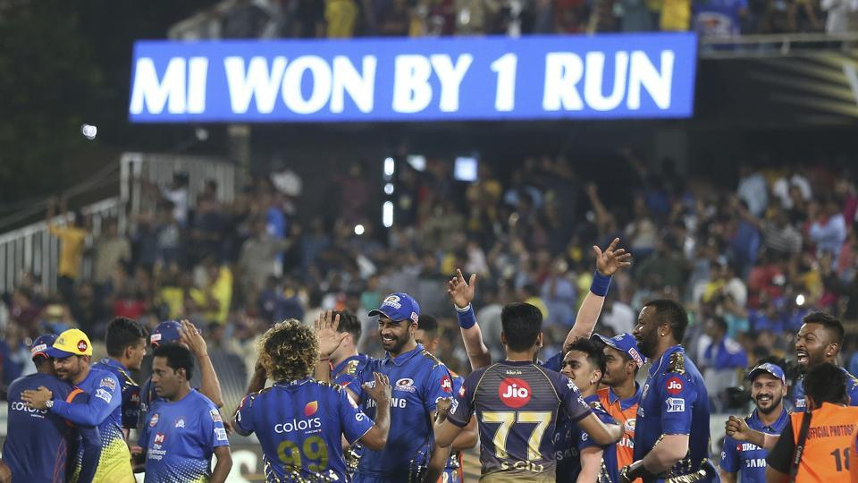 Members of Mumbai Indians team celebrate after their win in the VIVO IPL T20 cricket final match between Mumbai Indians and Chennai Super Kings in Hyderabad, India, Sunday, May 12, 2019