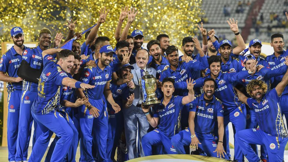 Mumbai Indians players celebrate their victory after the IPL final match against Chennai Super Kings.