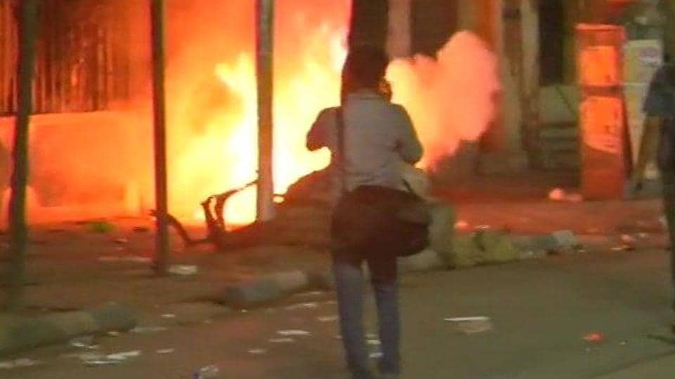 Atwo-wheeler set on fire at the gates of Vidyasagar College after BJP president Amit Shah's roadshow.