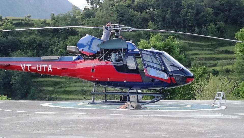 A helicopter for the Chardham Yatra, in Rudraprayag, Uttarakhand.