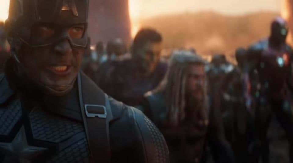 Captain America leads the Avengers into battle in a still from Avengers Endgame.
