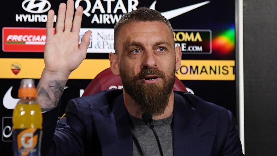 AS Roma's Daniele De Rossi during a press conference.
