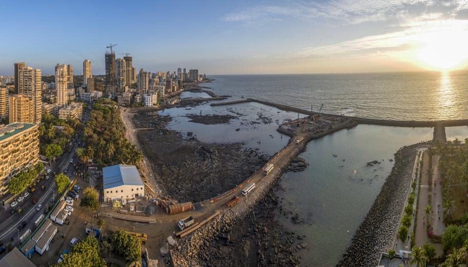 Construction on the Brihanmumbai Municipal Corporation's (BMC) ambitious coastal road has resumed in full swing after the Supreme Court (SC) last Monday modified a Bombay high court (HC) order from April. ourts order seen from Breach Candy in Mumbai, India, on Thursday, May 9, 2019. (Photo by Pratik Chorge/Hindustan Times)
