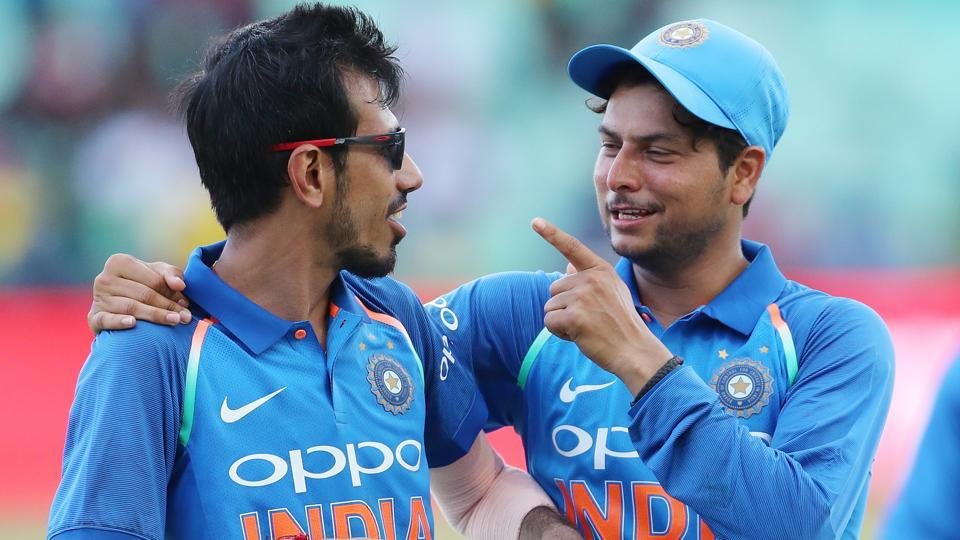 Yuzvendra Chahal of India and Kuldeep Yadav of India during the 1st One Day International match against South Africa.
