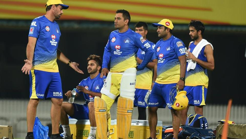 Chennai: Chennai Super Kings head coach Stephen Fleming gives instructions to players during a practice session