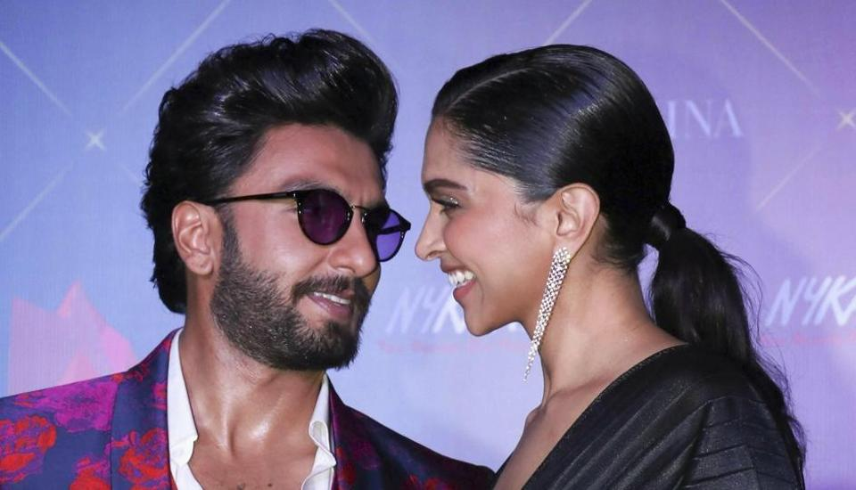 Bollywood actors Deepika Padukone and Ranveer Singh pose for a photograph during the 5th edition of Nykaa Femina Beauty Awards.