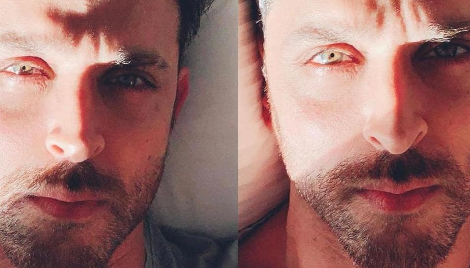 Hrithik Roshan shared a closeup picture of his face on Instagram.