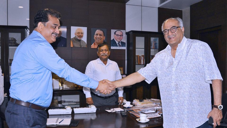 Bollywood producer Boney Kapoor met additional chief secretary Avnish Awasthi (centre) and information director Shishir (left) in Lucknow.