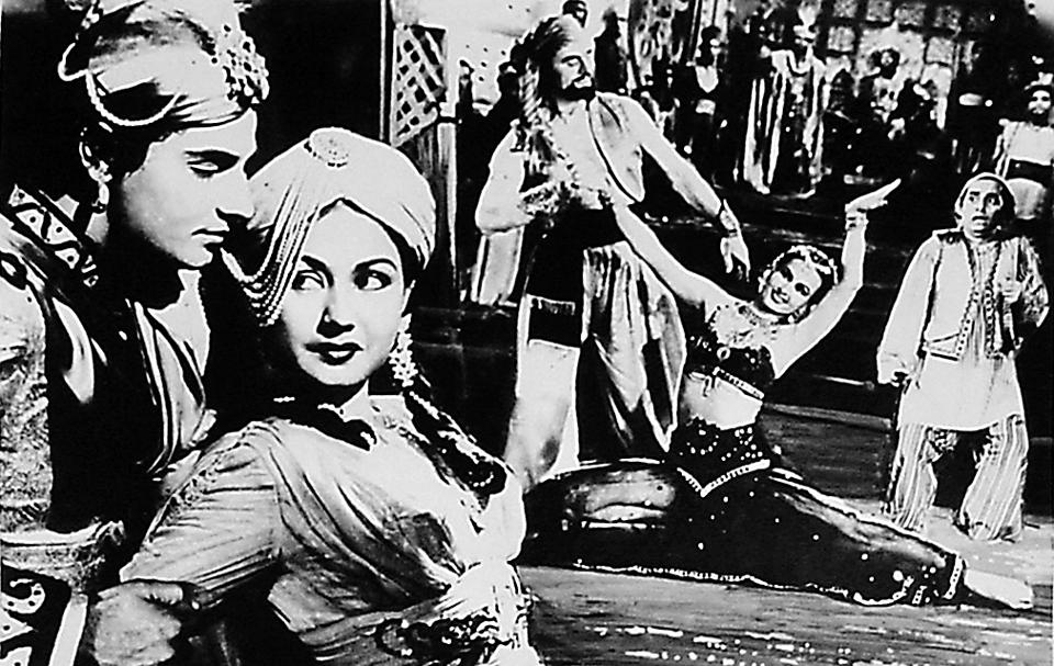 A poster of the Homi Wadia film, Aladdin and the Wonderful Lamp, 1952, starring a young Meena Kumari. Aladdin was played by actor Mahipal and the genie by Vasantrao, better known as Vasantrao Pehalwan.