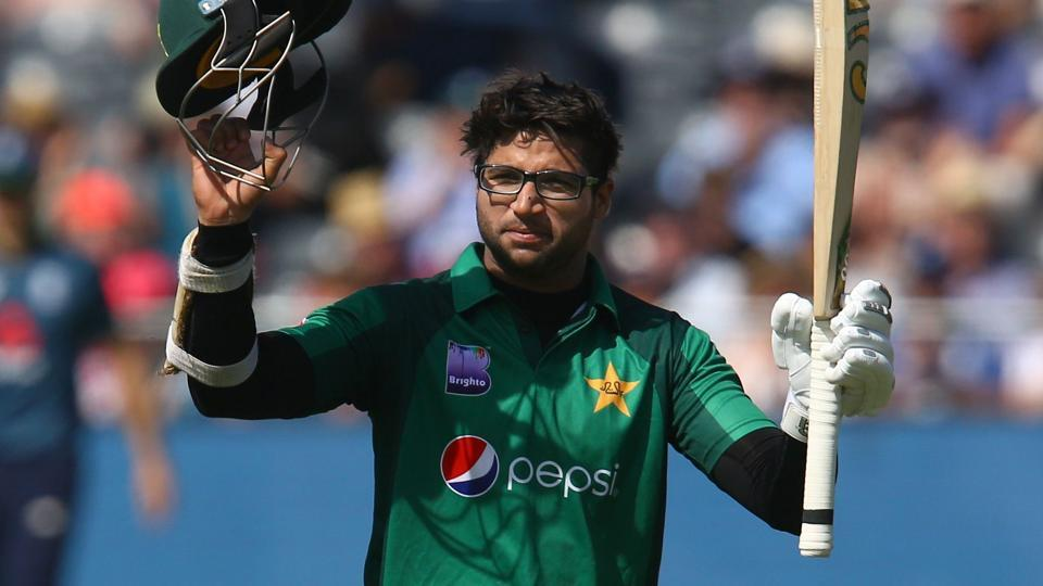 Pakistan's Imam-ul-Haq celebrates his century during the third One Day International (ODI) cricket match against England.