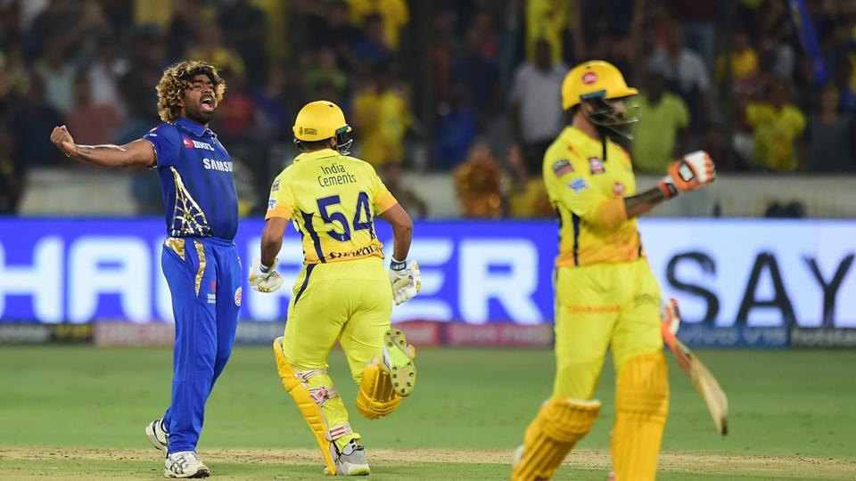 Mumbai Indians (MI) bowler Lasith Malinga celebrates after winning against Chennai Super Kings (CSK) at the Indian Premier League 2019 final cricket match at Rajiv Gandhi International Cricket Stadium in Hyderabad
