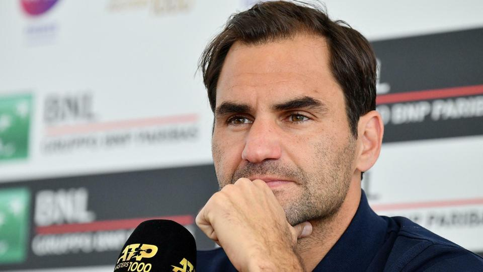 Switzerland's Roger Federer looks on during a press conference at the Italian Open tennis tournament, in Rome.