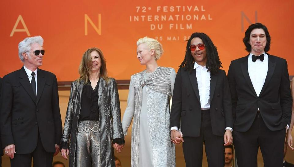 Director Jim Jarmusch and his partner, US director Sara Driver, actors Tilda Swinton, Luka Sabbat and Adam Driver arrive for the screening of The Dead Don't Die.
