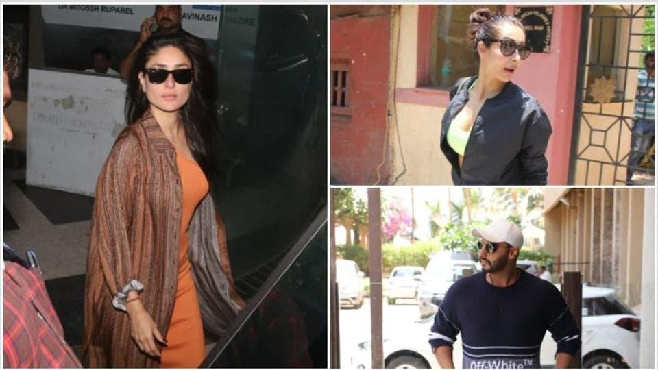 Kareena Kapoor, Malaika Arora and Arjun Kapoor were spotted by paparazzi in Mumbai.