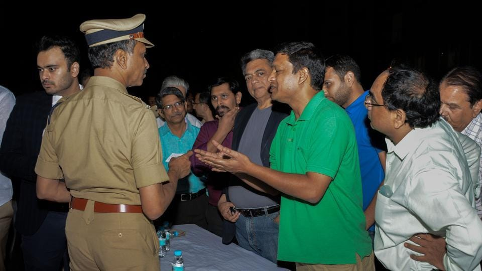 K Venkatesham, commissioner of police, Pune, interacting with residents of Baner, Balewadi and Pashan at Willows Society on Wednesday.