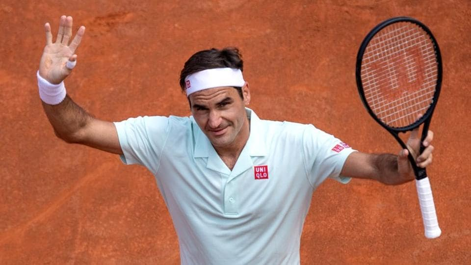 Foro Italico, Rome, Italy - May 16, 2019 Switzerland's Roger Federer celebrates winning his second round match against Portugal's Joao Sousa