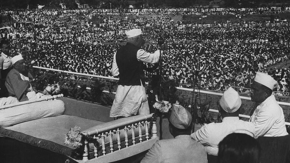 Jawaharlal Nehru addressing a mammoth election meeting at Golf Ground, Ahmedabad, 28 December 1951