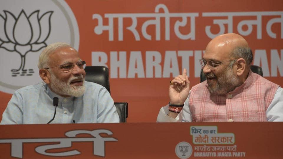 Prime minister Narendra Modi and BJP president Amit Shah address a press conference at party headquarters in New Delhi (HT photo   Mohd Zakir)