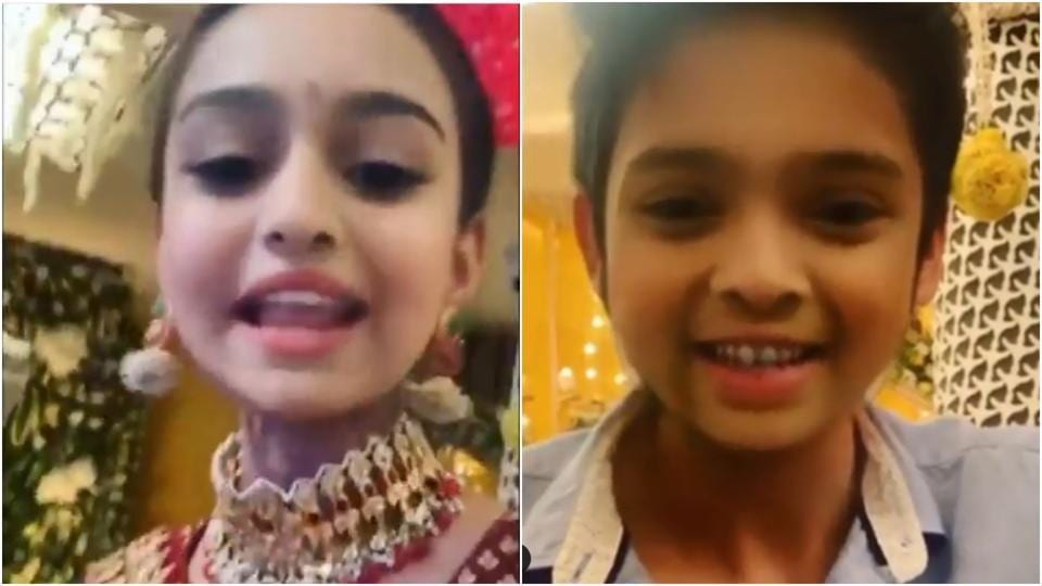 Erica Fernandes and Parth Samthaan as kids in the video shared by Erica on her Instagram account.