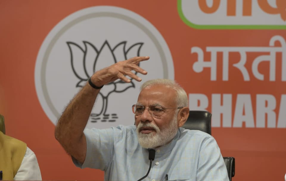 In his first appearance at a press conference since he came to power in 2014, Prime Minister Narendra Modi asserted in opening remarks that the BJP will come back to power with a full majority on its own, but refused to take any questions, citing party discipline.