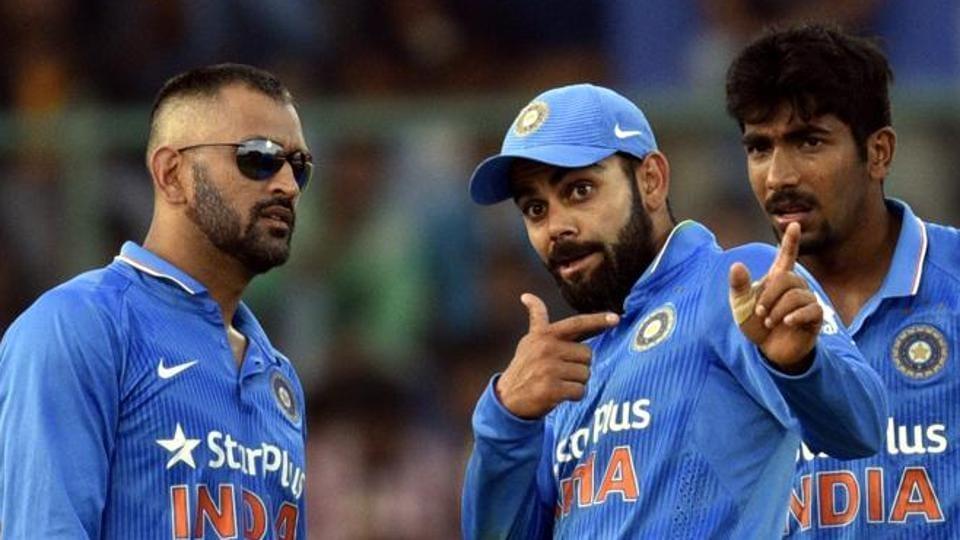 File image of India cricketer MS Dhoni, Virat Kohli and Jasprit Bumrah (L-R)