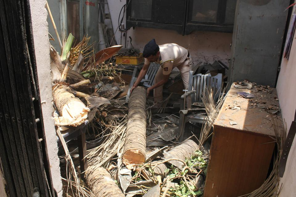 A policeman removes the trunk and branches of the coconut tree that fell on the roof of the Thane rural police drivers' restroom at Court Naka.