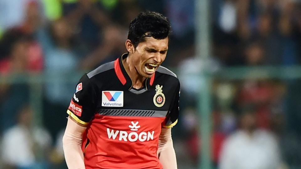 Navdeep Saini during an IPL match.