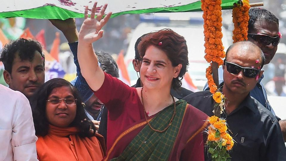 Mirzapur: Congress General Secratary Priyanka Gandhi Vadra during an election roadshow in support of party's Mirzapur seat candidate Lalitesh Tripathi ahead of the seventh and final phase of Lok Sabha polls, in Mirzapur.