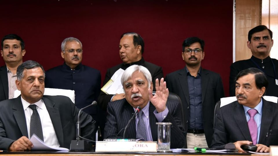 File photo of Chief Election Commissioner (C) Sunil Arora with Election Commissioners Ashok Lavasa (L) and Sushil Chandra (R) addressing a press conference (Ritu Singh/HT photo)