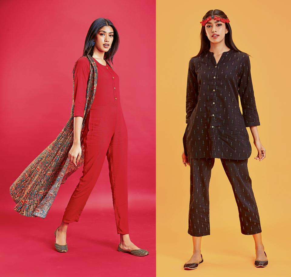 Ethnic pant suits and kurta onesies are the highlight of the season's fusion fashion