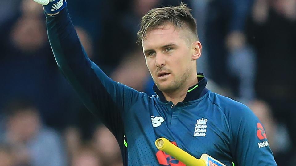 England's Jason Roy celebrates his century.