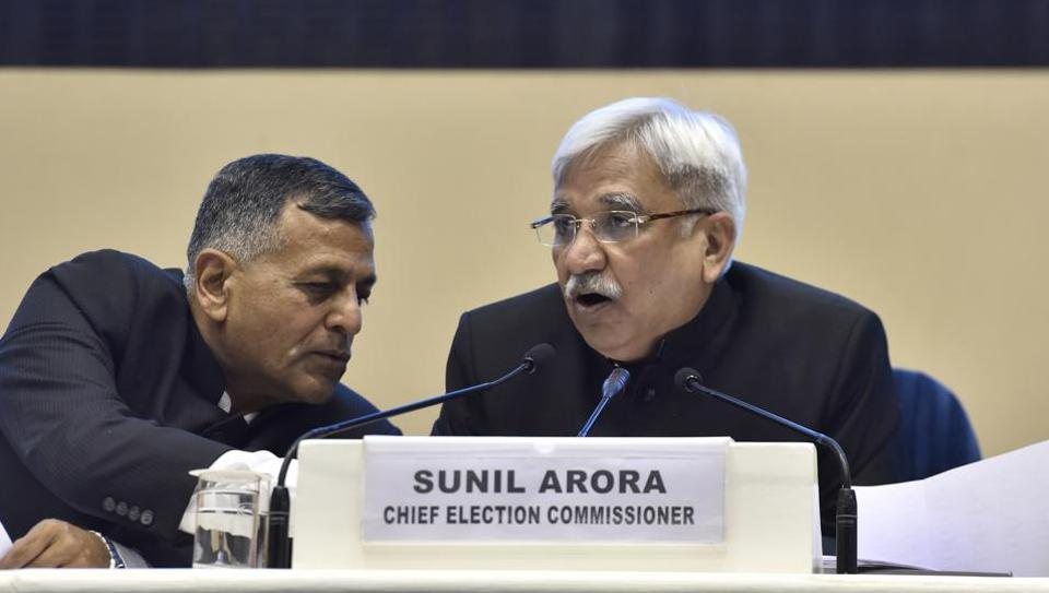 Election Commissioner Ashok Lavasa (L) has recused himself from meetings where decisions pertaining to the model code of conduct are decided. He wrote at least three letters to the Chief Election Commissioner to accept his demand for including minority decisions in the poll body's final orders. (Sanjeev Verma / HT File)