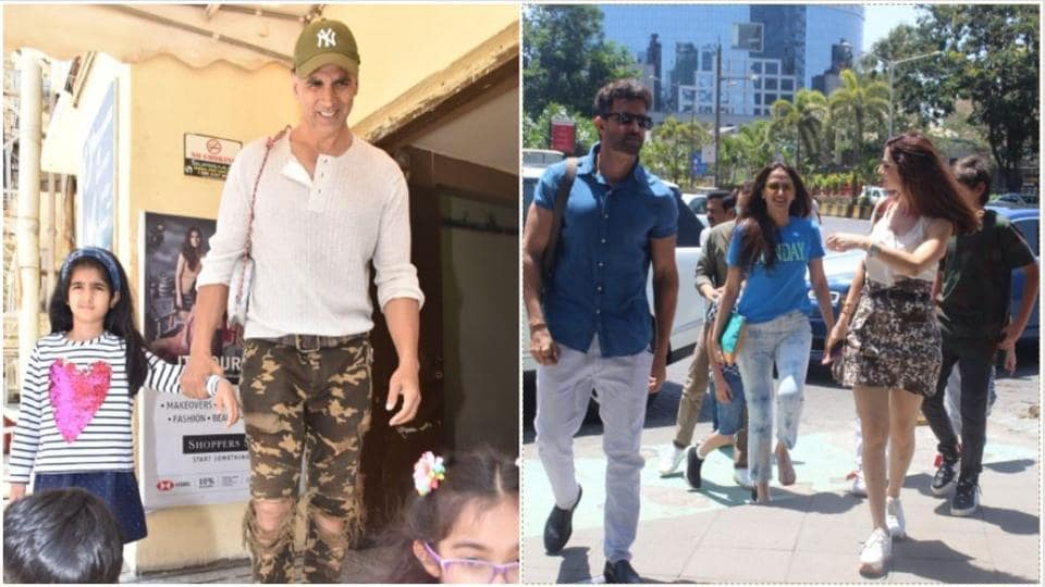 Hrithik Roshan steps out for Sunday lunch with Sussanne Khan, Akshay Kumar carries Nitara's tiny bag for her. See pics
