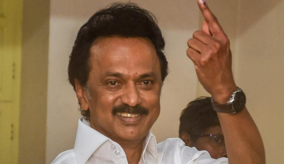 Chennai: DMK President MK Stalin shows his finger marked with indelible ink after casting vote for the second phase of the general elections, at a polling station in Chennai.